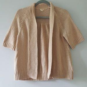 J. Crew Open Short Sleeve Cardigan Sweater Beige